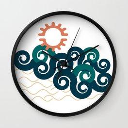 sun in a beach Wall Clock