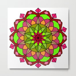 Peace and Love Mandala Metal Print
