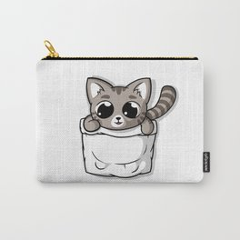 Cute Gray Pocket Cat Carry-All Pouch