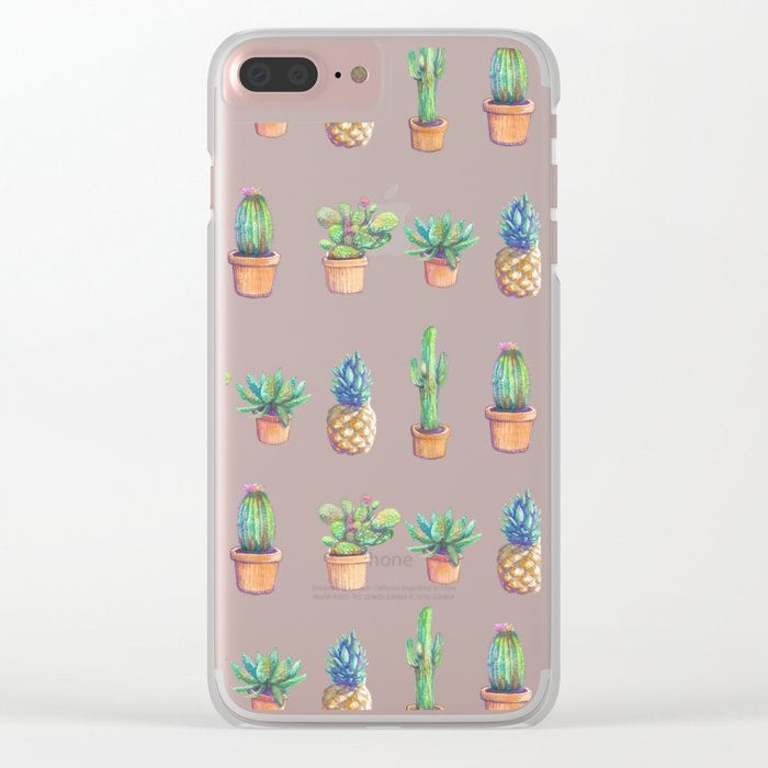 cactus and pineapples white! Clear iPhone Case