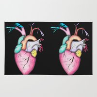 anatomical heart Area & Throw Rugs featuring Watercolor Heart by AGMPhotos
