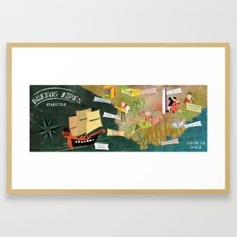 Buenos Aires, Map Framed Art Print
