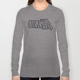 Kansas City Typography - Black Long Sleeve T-shirt