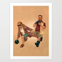 lebowski Art Prints featuring Big Lebowski by Dave Collinson