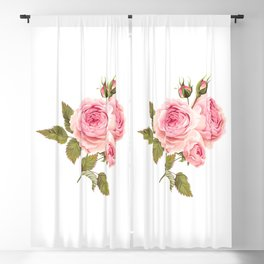 Lonely Pink Rose Floral Kingdom Sumptuous Fantasy Flower Pattern Blackout Curtain