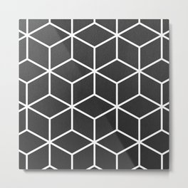Charcoal and White - Geometric Textured Cube Design Metal Print