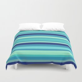 Preppy Stripes - Aqua Blues Duvet Cover