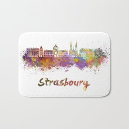 Strasbourg skyline in watercolor Bath Mat