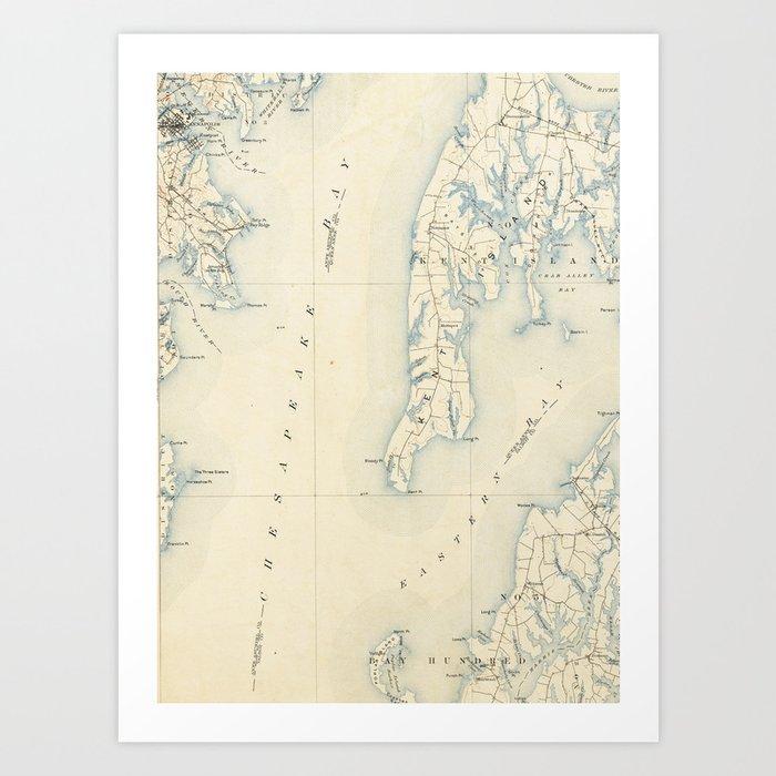 Vintage Annapolis MD & Chesapeake Bay Map (1902) Art Print by ...