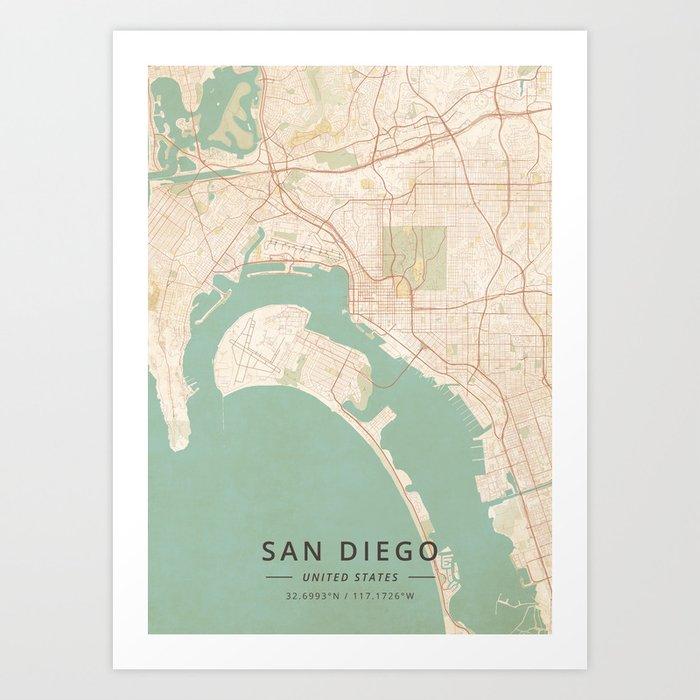 Vintage San Diego Map.San Diego United States Vintage Map Art Print By Designermapart
