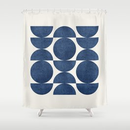 Blue navy retro scandinavian Mid century modern Shower Curtain