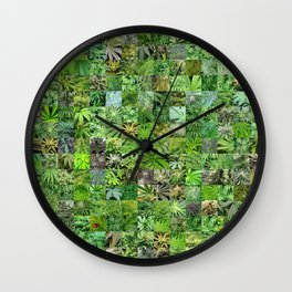 Marijuana Leaves Montage Wall Clock