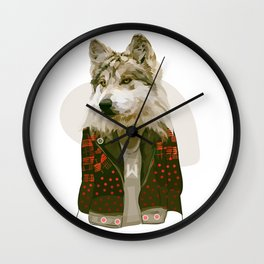 wolf jacket Wall Clock