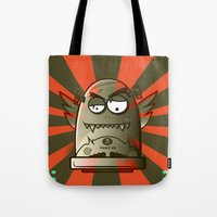 fault Tote Bags featuring Fault 45 01 (its not his fault) by Face Leakage