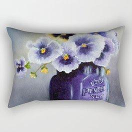 Pansies in a Purple Perfect Seal Jar Rectangular Pillow