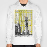 mid century Hoodies featuring New York Times Square Vintage Urban Mid Century 1900's - NYC Map Background by DarkIslandCity