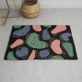 Abstract 80s Retro Topographic Map Pattern Rug
