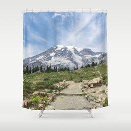 Trail Up Rainier Color Shower Curtain