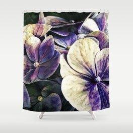 Hortensia flowers in vintage grunge watercoloring style Shower Curtain