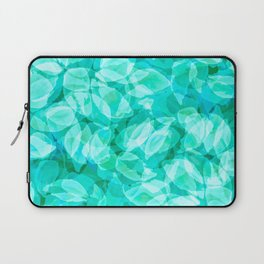 Aqua Blue Turquoise Water Pool Flower Pattern, Delicate Floral Blossom Reflection Design Laptop Sleeve