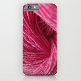 Hot Pink Handspun Wool Yarn iPhone Case