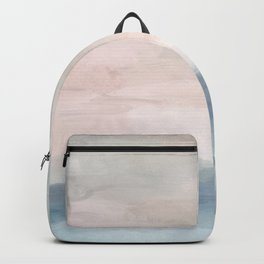 Blush Pink Mint Sky Baby Blue Abstract Ocean Sky Sunrise Wall Art, Water Clouds Painting Backpack