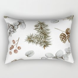 Retro Cozy Winter Cabin Water-colour Pattern Rectangular Pillow