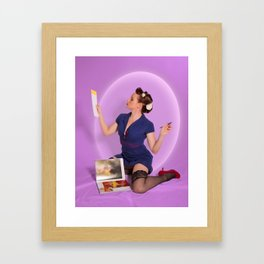 """Planning"" - The Playful Pinup - Polka Dot Dress Pinup Girl by Maxwell H. Johnson Framed Art Print"