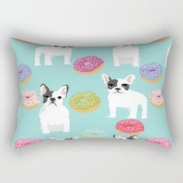 French Bulldog cute mint pastel cute donuts sweet treat doughnuts junk food dessert foods and dogs Rectangular Pillow