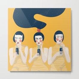 Three Girls in Yellow Metal Print
