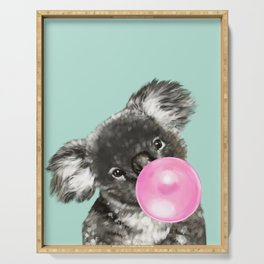 Playful Koala Bear with Bubble Gum in Green Serving Tray