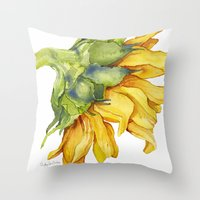 sunflower Throw Pillows featuring Sunflower by Cindy Lou Bailey