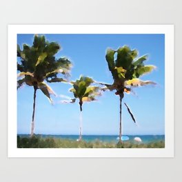 Coconut Trees on Fort Lauderdale Beach Art Print