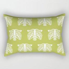 Human Rib Cage Pattern Chartreuse Green Rectangular Pillow