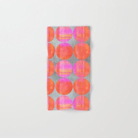 orange dots mixed media modern pattern Hand & Bath Towel