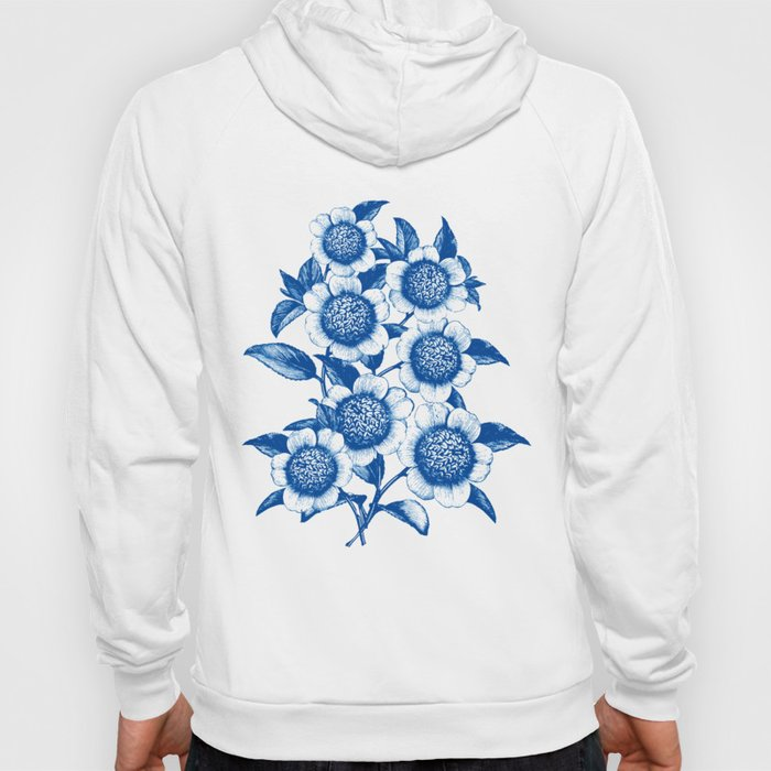 Blue large floral pattern Hoody