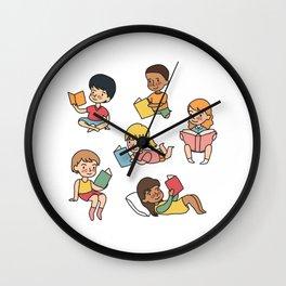Kids Reading Books Wall Clock