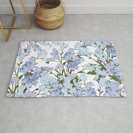 Pastel pink lavender blue watercolor floral Rug