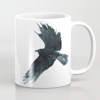 crow Mugs featuring Crow by Cat Graff