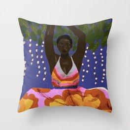 Girl in Blue Throw Pillow