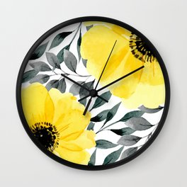 Big yellow watercolor flowers Wall Clock