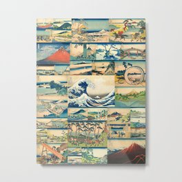 """Hokusai's """"The Great Wave"""" and other Images from his Series """"Thirty-six Views of Mount Fuji"""" Metal Print"""