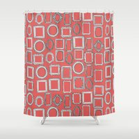 frames Shower Curtains featuring picture frames coral by Sharon Turner