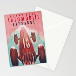 Grand Prix Automobile Lausanne - Vintage 1947 Race Poster Stationery Cards
