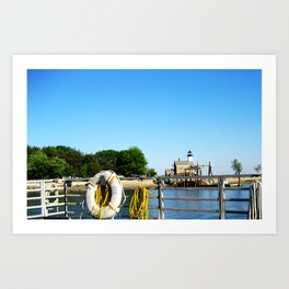 Sheffield Island Lighthouse, Norwalk, Connecticut, blue sky Art Print