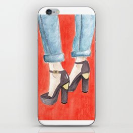 Black and Gold Heels iPhone Skin