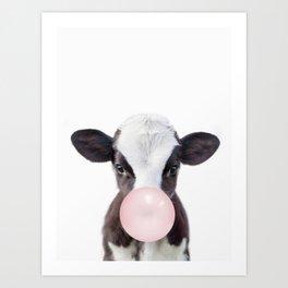 Bubble Gum Baby Cow Art Print