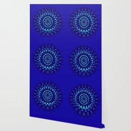 Hand- Drawn Bohemian Mandala in Sapphire Blue Wallpaper