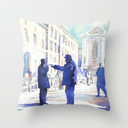 Watercolor painting of two old men arguing in piazza in Italy. Throw Pillow