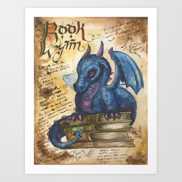 Book Wyrm from the Field Guide to Dragons Art Print